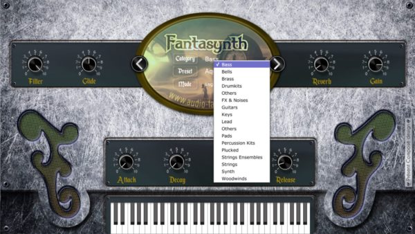 Fantasynth showing categories