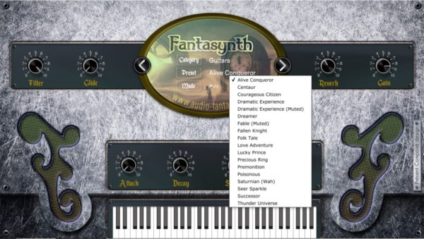 Fantasynth showing presets